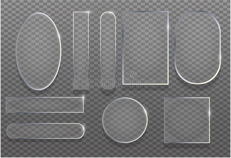 Realistycznego 3d przejrzystego szkła ustalona wektorowa ilustracja Odbicie ramowej tekstury glansowany sztandar z cieniem Błyszc royalty ilustracja
