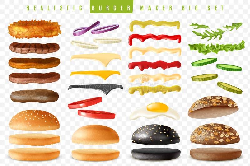 Realistycznego hamburgeru producenta tła duży przejrzysty set ilustracji