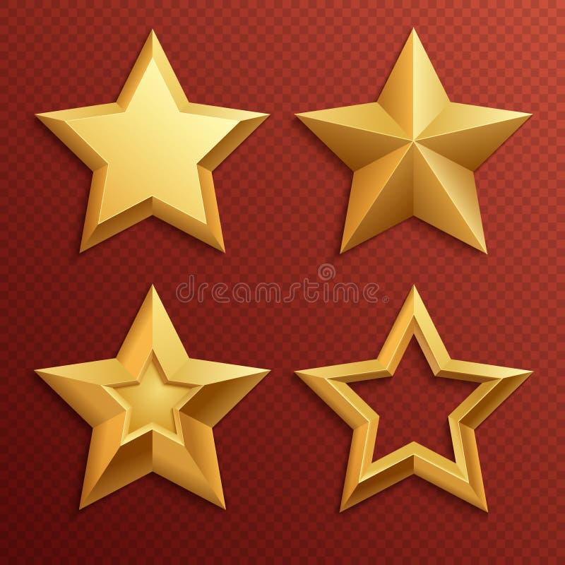 Realistycznego metalu złote gwiazdy odizolowywać dla oszacowywać i wakacyjny dekoracja wektoru setu ilustracji