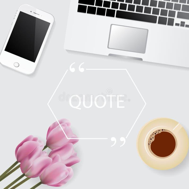 Realistycznego mieszkania nieatutowy tło z laptopem, kwiaty, filiżanka kawy Wektoru zapas zdjęcia stock
