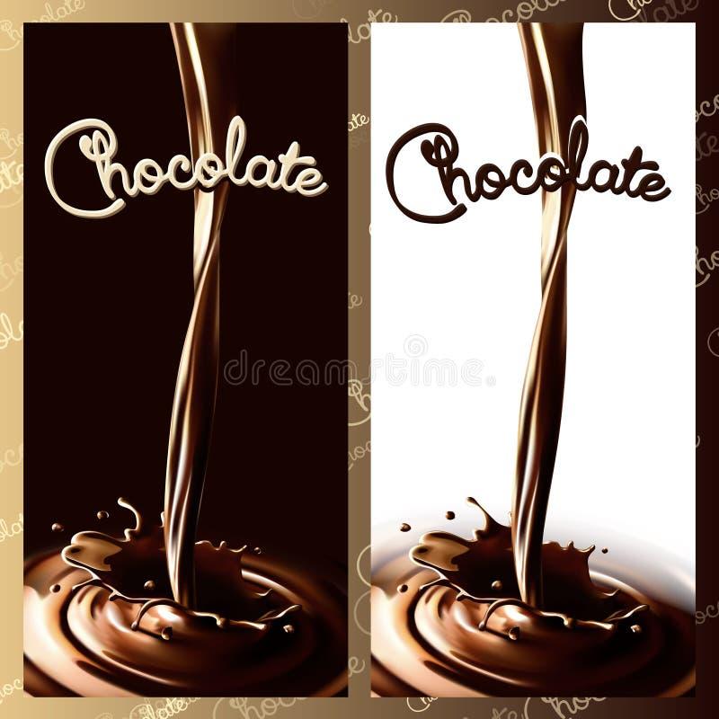 Realistycznego pluśnięcia bieżąca czekolada, kakao w tle lub spokojnie redaguje projekt elementów wektora ilustracji