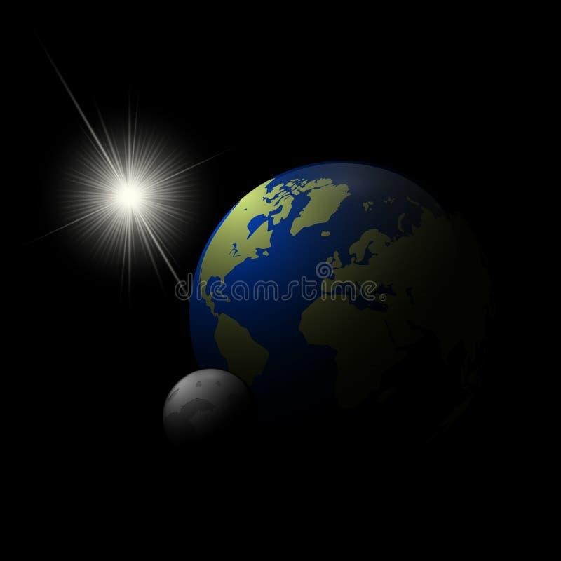 Realistycznego słońca, ziemi i księżyc 3d wektoru ilustracja, royalty ilustracja