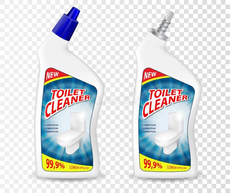 Realistycznego szablonu Cleaner gel Toaletowy pakunek Plastikowy butelka zbiornika mockup z odkażalnika cieczem wektor royalty ilustracja