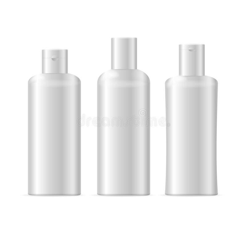 Realistycznego szablonu Pustego Białego szamponu Kosmetyczna butelka Odizolowywająca wektor ilustracji