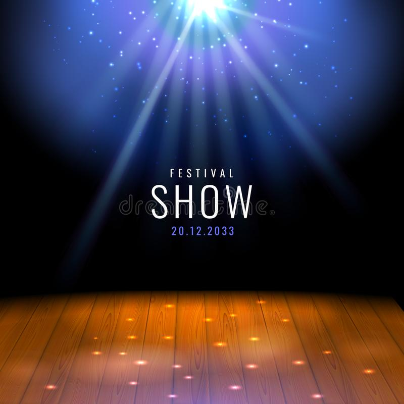 Realistycznego teatru drewniana scena, podłoga z światło reflektorów Wektorowym świątecznym szablonem z lub Plakatowy projekt dla ilustracji