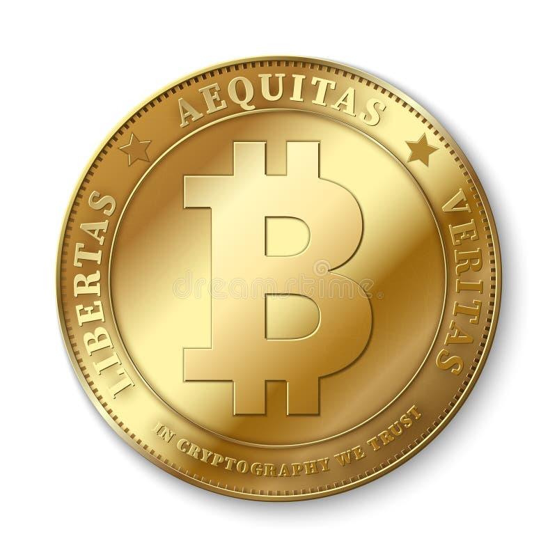 Realistycznej 3d bitcoin złotej monety wektorowa ilustracja dla fintech sieci bankowości i blockchain pojęcia royalty ilustracja