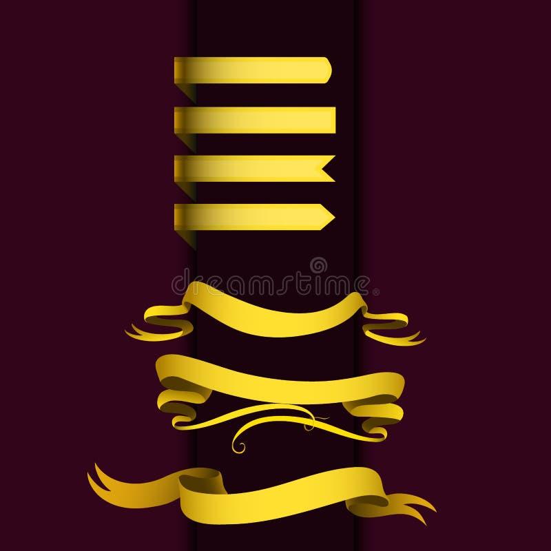 Realistycznej złocistej faborek taśmy flaga sztandaru eleganci ściegu graficzny zespół ilustracji