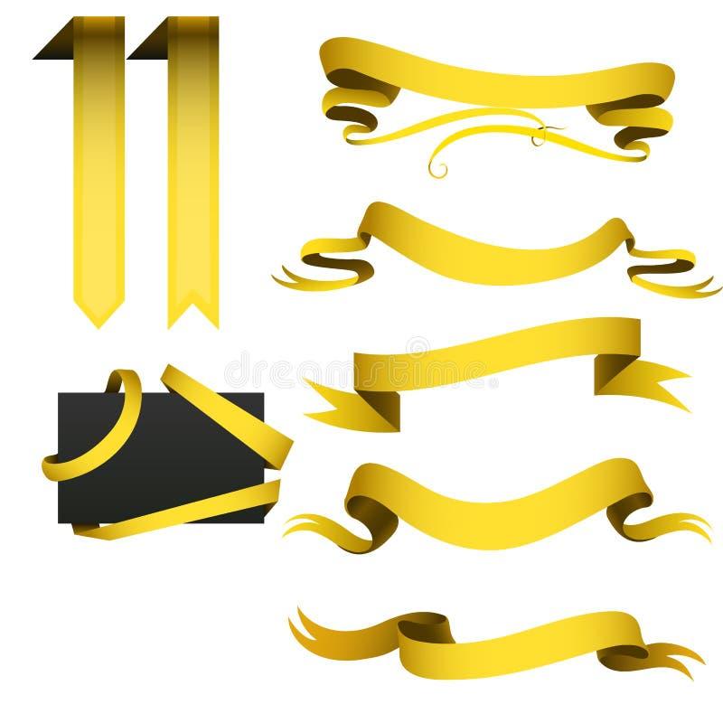 Realistycznej złocistej faborek taśmy flaga sztandaru eleganci ściegu zespołu sztandaru flaga łęku wektoru graficzna ilustracja royalty ilustracja