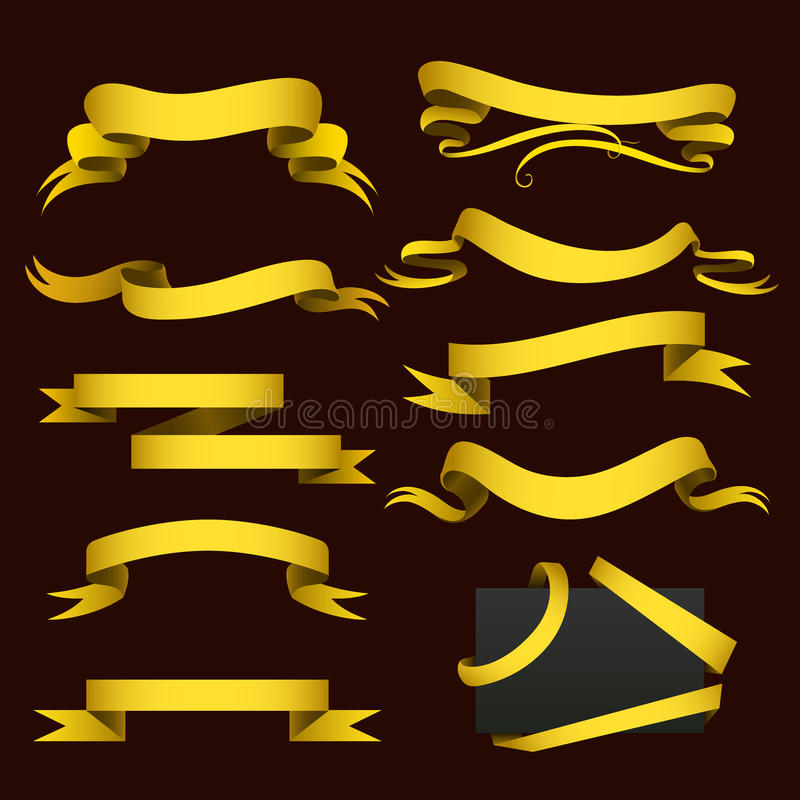 Realistycznej złocistej faborek taśmy flaga sztandaru eleganci ściegu zespołu sztandaru flaga łęku wektoru graficzna ilustracja ilustracja wektor