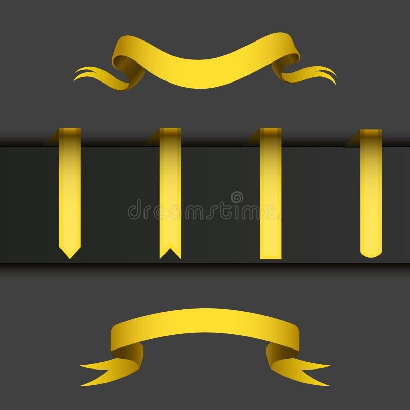 Realistycznej złocistej faborek taśmy flaga sztandaru eleganci ściegu zespołu sztandaru flaga łęku wektoru graficzna ilustracja ilustracji
