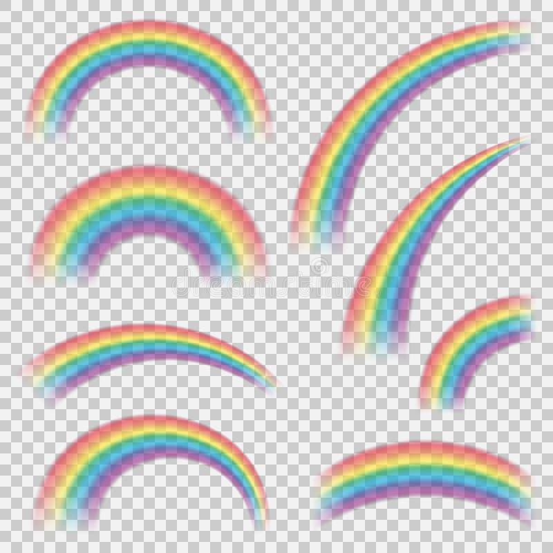 Realistyczni colourful tęcza kształty, przedmioty ustawiający lub obraz stock