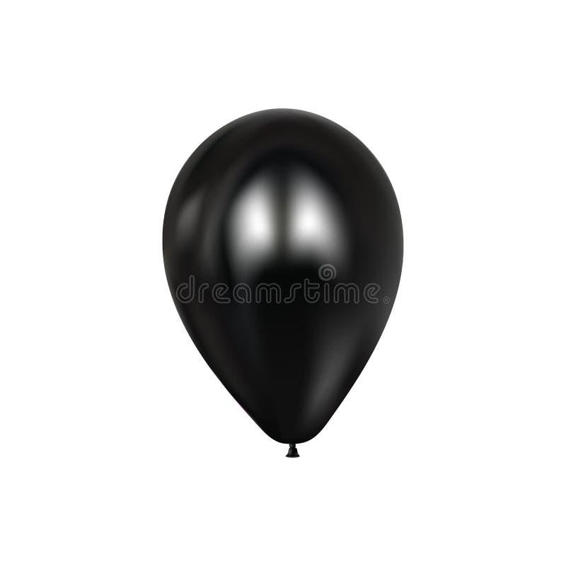 Realistyczni 3d czerni ballons Kolorowy glansowany Ballon Balonu odosobniony mockup dla rocznicy, przyjęcie urodzinowe elementy p royalty ilustracja