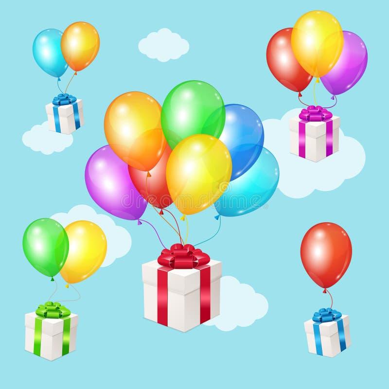 Realistyczni 3d Wyszczególniający kolorów balony i teraźniejszość pudełka na niebieskiego nieba tle wektor ilustracja wektor