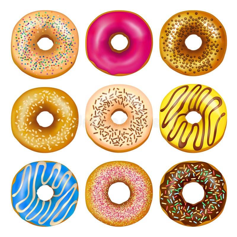 Realistyczni Donuts Ustawiający ilustracja wektor