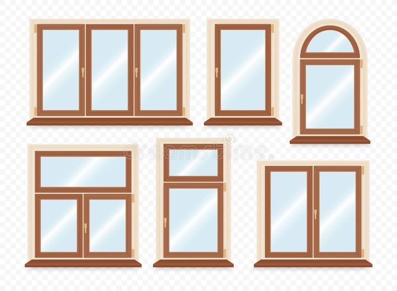 Realistyczni drewniani plastikowi okno ustawiający ilustracja wektor