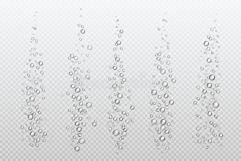 Realistyczni fizzing bąble Podwodny węglan błyska pod wodny gaz odizolowywającym fizz akwarium powietrzem Bąbla strumień ilustracja wektor