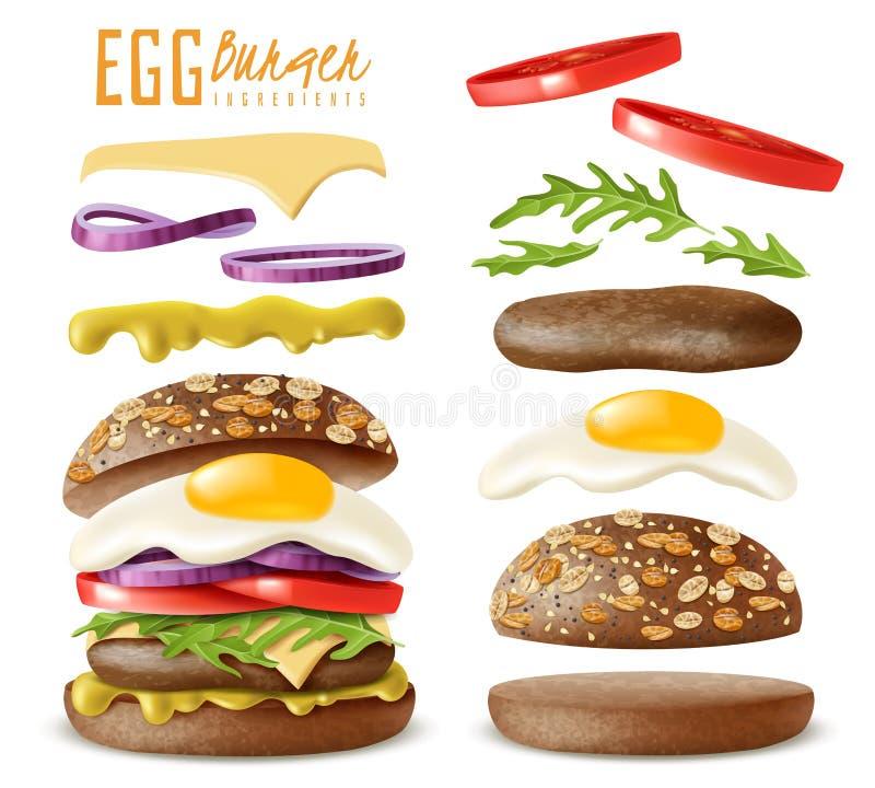 Realistyczni jajeczni hamburgerów elementy ustawiający royalty ilustracja