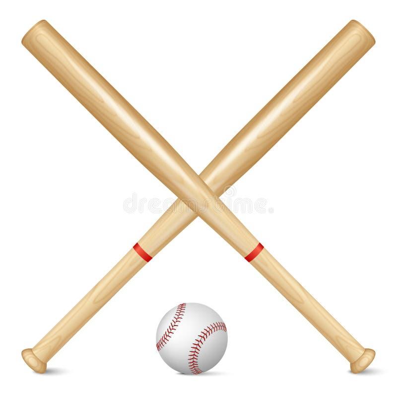Realistyczni kije bejsbolowi i piłka ilustracji