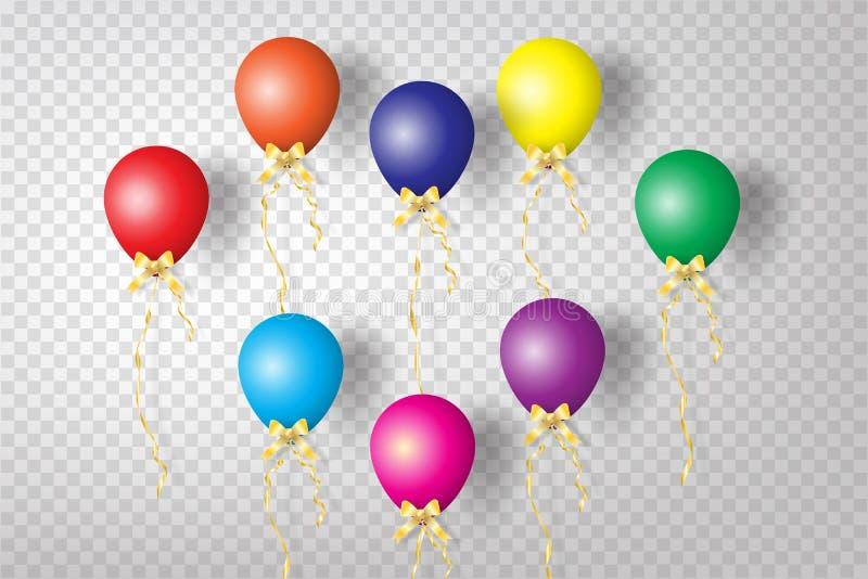 Realistyczni Kolorowi balony z faborku przyjęciem co i świętowaniem royalty ilustracja