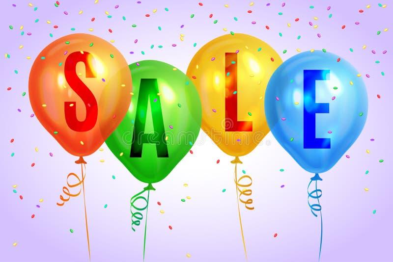 Realistyczni kolorowi balony z teksta ` sprzedaży ` Tło dla specjalnej oferty ilustracja wektor