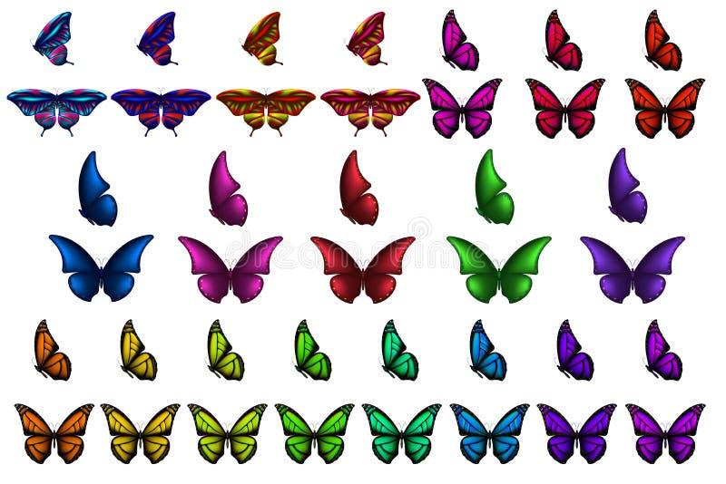Realistyczni kolorowi 3d motyle ustawiający, odosobniony biały tło Dekoracja element Dla projekta royalty ilustracja