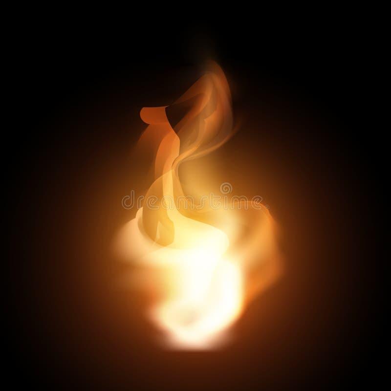 Realistyczni kreatywnie gorący wektoru ogienia płomienie lub blasku ognisko ilustracja wektor