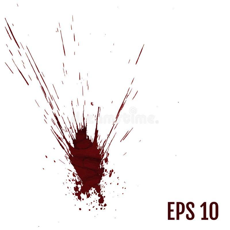 Realistyczni krew splatters, pluśnięcie ciecz, plama atrament, punkt i bl, ilustracja wektor