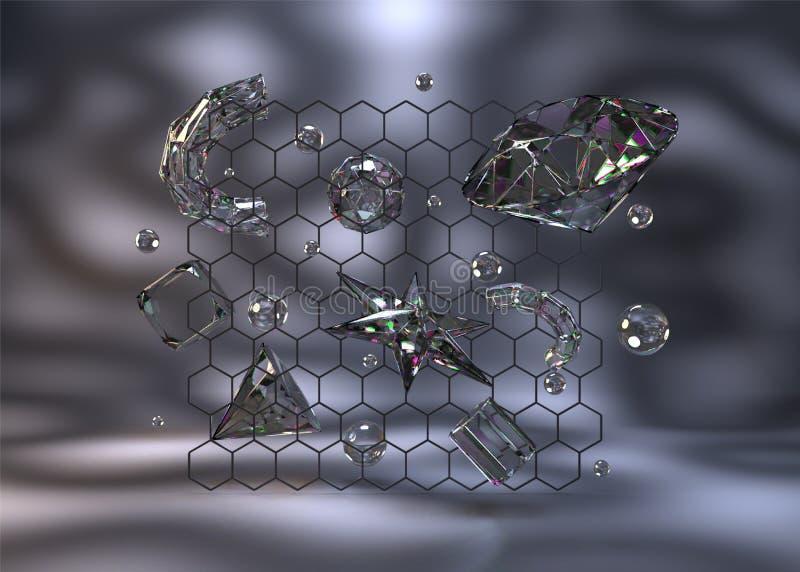 Realistyczni krystaliczni elementy tak jak sfery, gwiazda, tubki, konusują ilustracja wektor