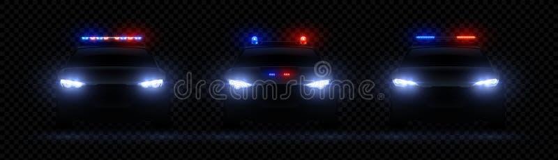 Realistyczni milicyjni reflektory Samochodowa jarzy się dowodzona lekka skutka, rzadkiej i frontowej policja, syreny racy, czerwi ilustracja wektor