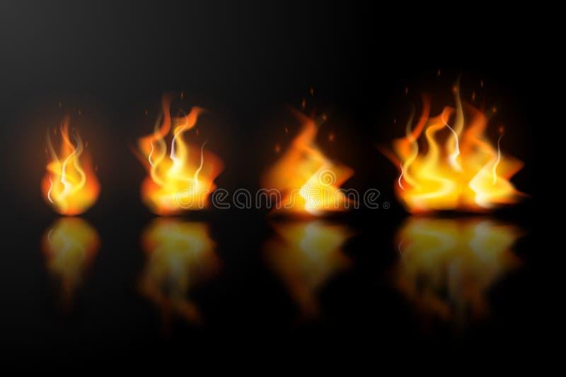 Realistyczni ogieni płomienie ustawiający z odbiciem ilustracji