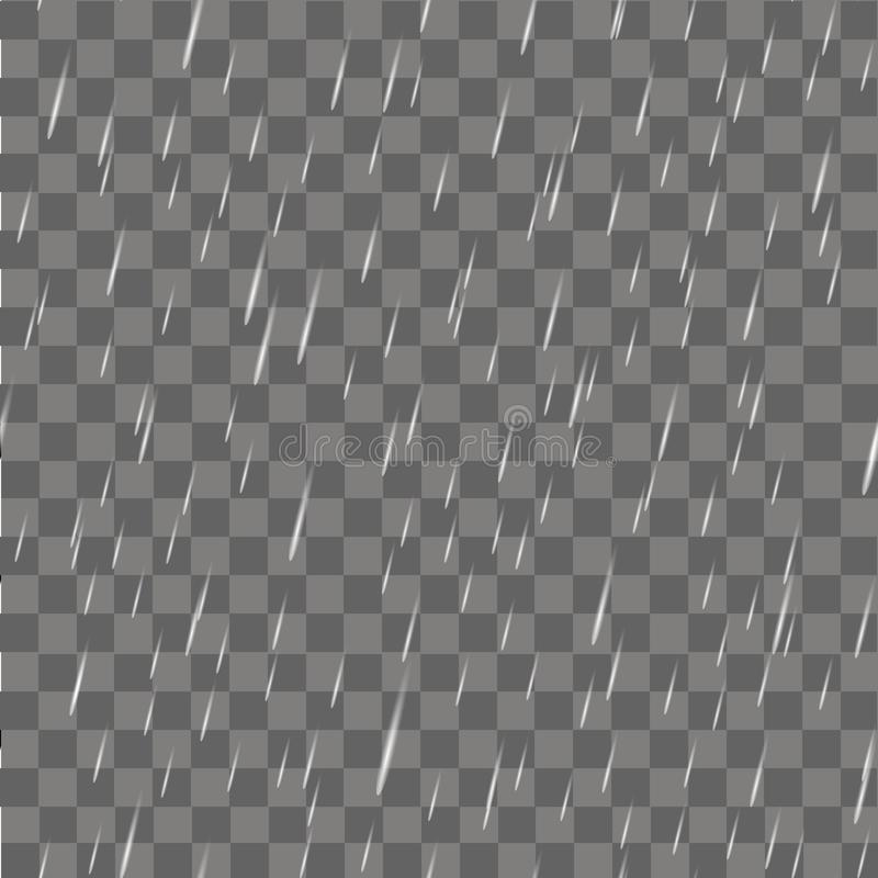 Realistyczni podeszczowi lub wodni raindrops na przejrzystym tle wektor ilustracji