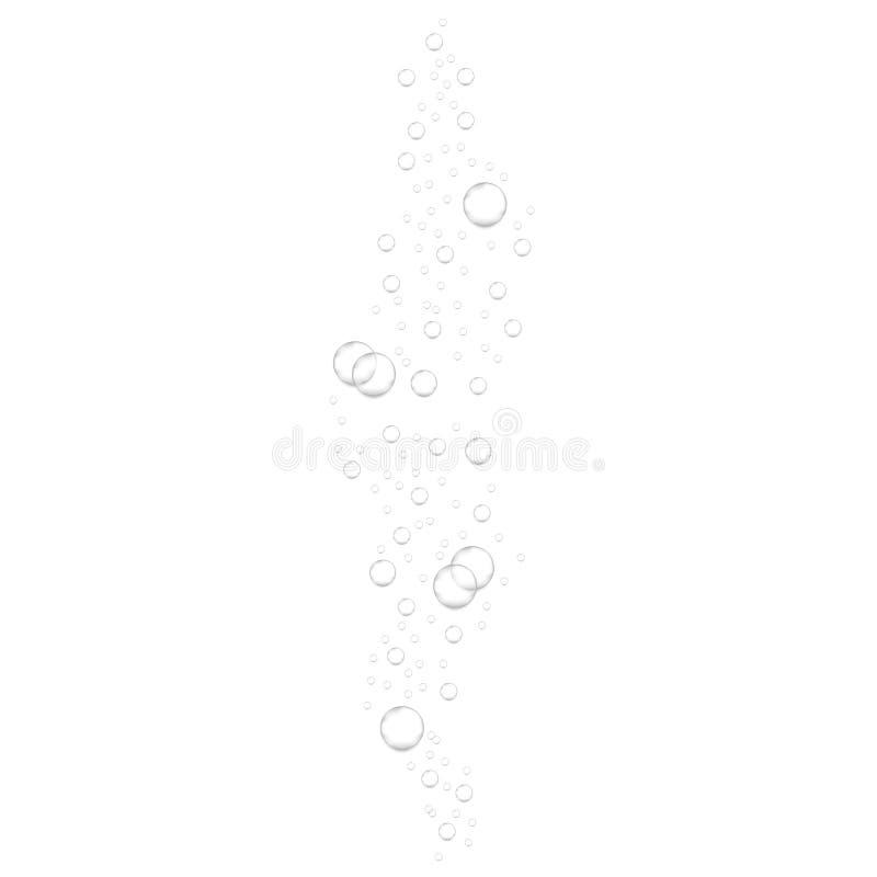 Realistyczni podwodni fizzing lotniczy bąble odizolowywający na białym tle Iskrzasta woda, lotniczy bąble ilustracji