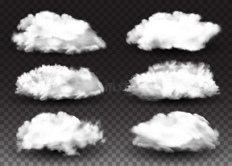 realistyczni projektów elementy Set Puszyste białe chmury Dymny skutek Wektorowej ilustraci Odosobniony Przejrzysty tło royalty ilustracja