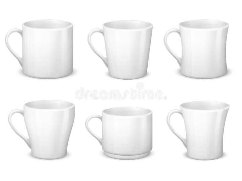 Realistyczni puści biali kawowi kubki z rękojeści i porcelany filiżanek wektorowym szablonem odizolowywającym ilustracja wektor