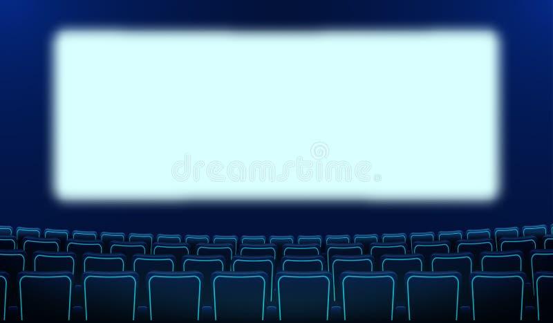 Realistyczni rz?dy b??kitny krzes?a kino i bia?y pusty ekran w ciemno?ci Kinowy audytorium i kina siedze? stawia? czo?o ilustracja wektor