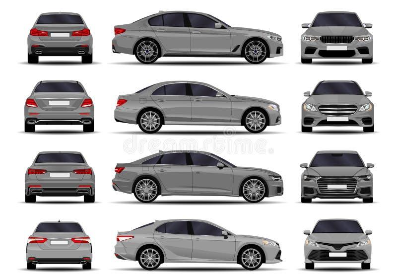 Realistyczni samochody ustawiający sedan ilustracji