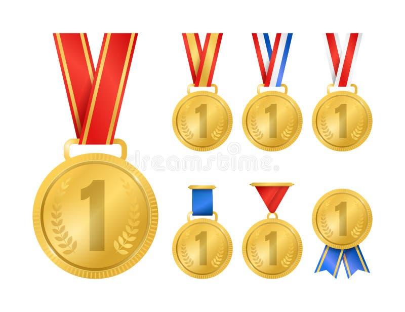 Realistyczni Szczegółowi 3d mistrza złoci medale Ustawiający wektor ilustracji