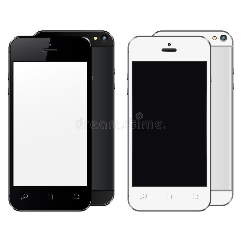 Realistyczni telefony komórkowi z pustym ekranem odizolowywającym na białym tle ilustracja wektor