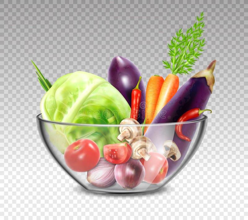 Realistyczni warzywa W Szklanym pucharze ilustracja wektor