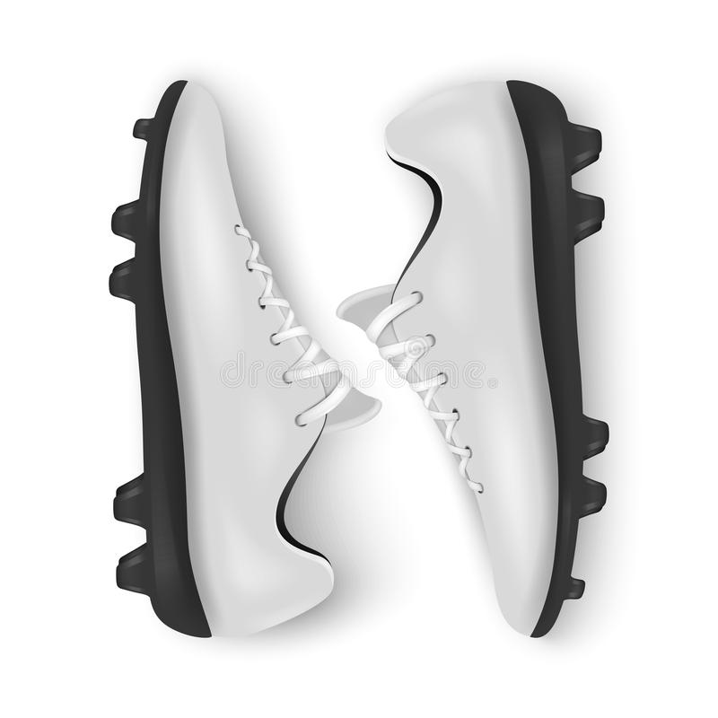 Realistyczni wektoru 3d pary białych mężczyzna piłki nożnej lub futbolu puści buty, buta zbliżenie odizolowywający na białym tle royalty ilustracja