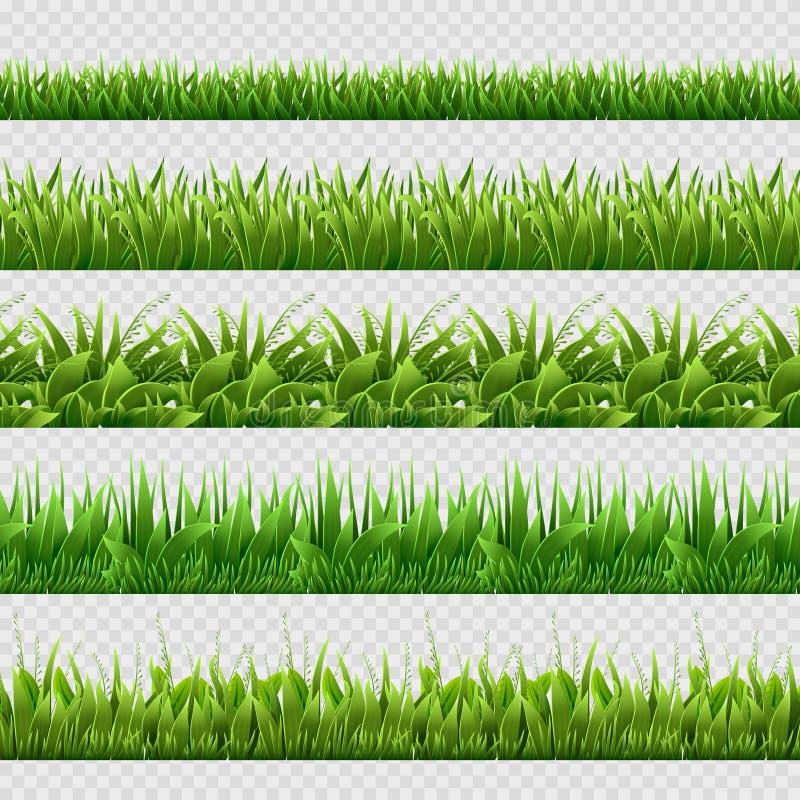 Realistyczni zielonej trawy bezszwowi wektorowi tła odizolowywający ilustracja wektor