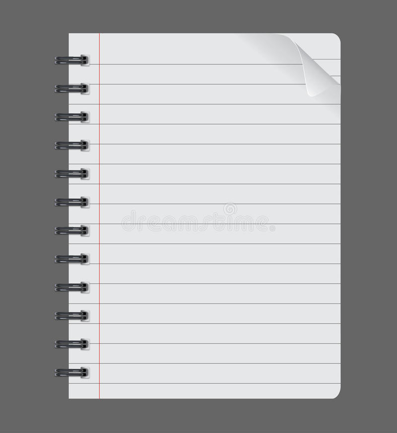 Realistyczny ślimakowaty notepad notatnik na popielatym tle, papieru prześcieradło ilustracji