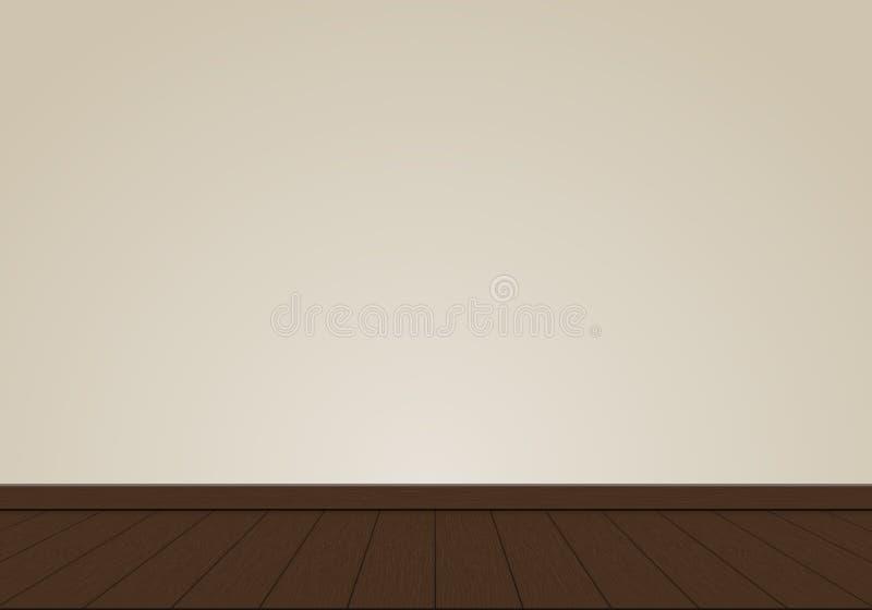 Realistyczny śmietanki ściany puste miejsce z dębowego drewna tła podłogowym wewnętrznym wektorem ilustracji