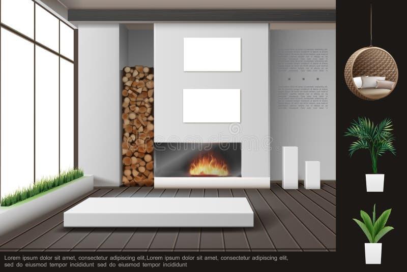 Realistyczny Żywy Izbowy Wewnętrzny pojęcie ilustracja wektor