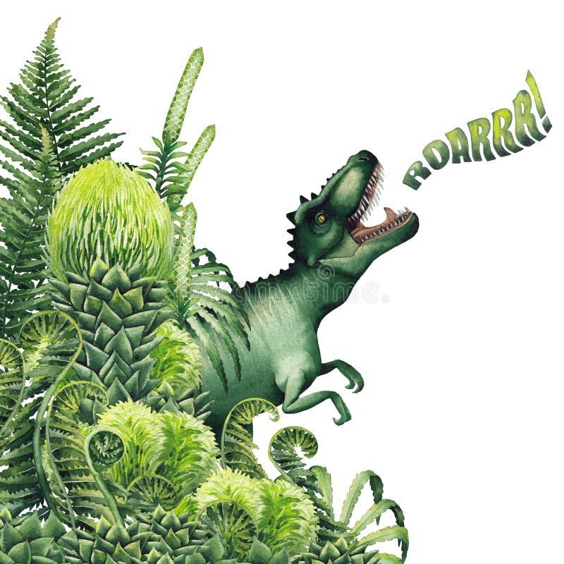 Realistyczny akwarela dinosaur ilustracja wektor