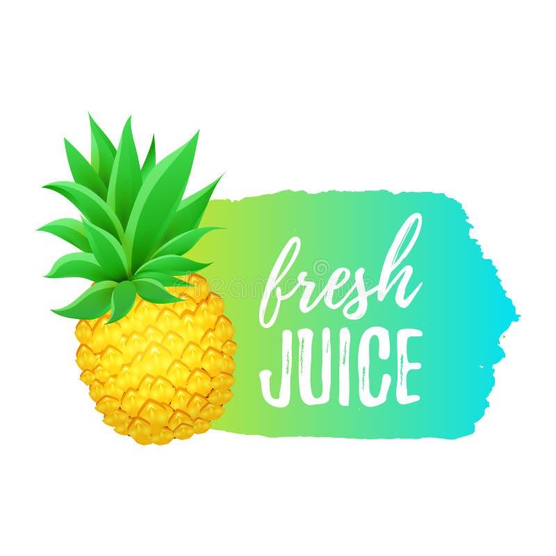 Realistyczny Ananasowy Świeży soku sztandar Eco produktów projekta element ilustracja wektor