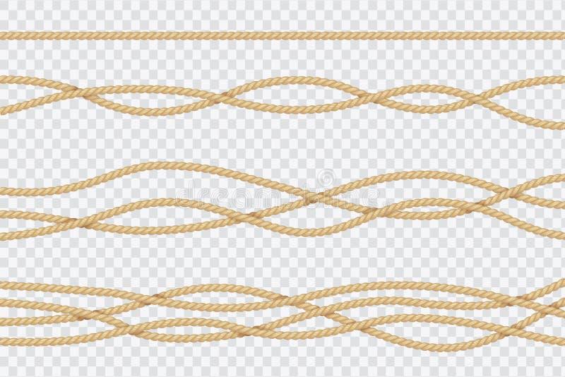 Realistyczny arkana set Nautyczni textured sznury Zakończenie w górę żeglarzów zawiązuje wektor 3d odizolowywającą kolekcję royalty ilustracja