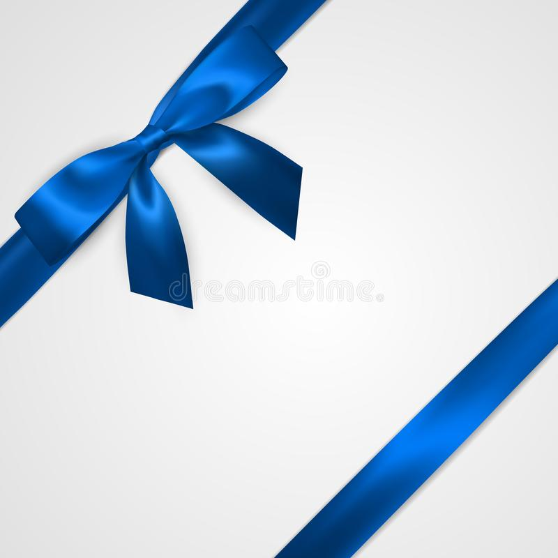Realistyczny błękitny łęk z faborkami odizolowywającymi na bielu Element dla dekoracja prezentów, powitania, wakacje również zwró royalty ilustracja