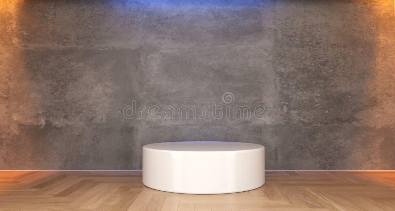 Realistyczny Betonowy pokój Z bielu stojakiem ilustracja wektor