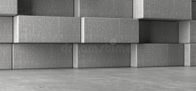 Realistyczny Betonowy pokój Z Decotarive prostokąta blokami Na ścianie royalty ilustracja